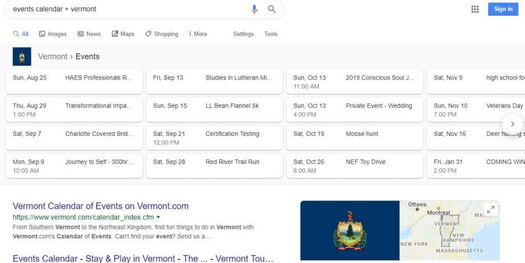 events calendar search